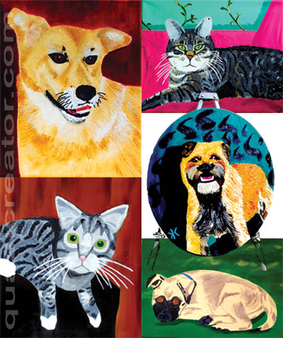 pet portraits paintings of cats and dogs