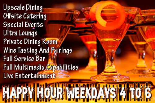 melange features and happy hour web advertisement