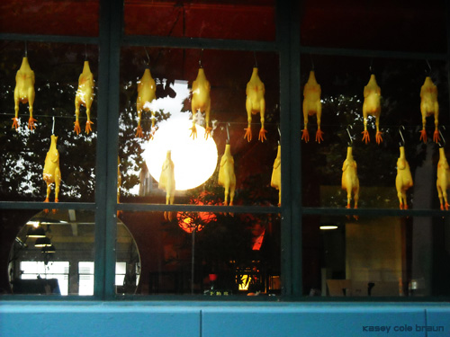 chickens in butcher window