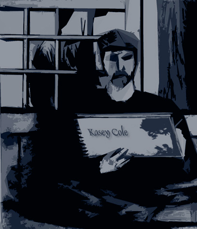 illustration of KC sitting with sketchbook